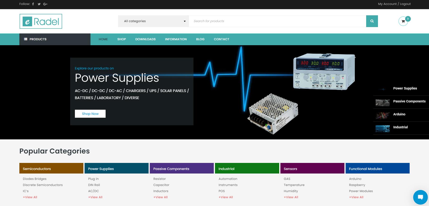 Screenshot 1 - Κατασκευή eshop eradel.com - 3site