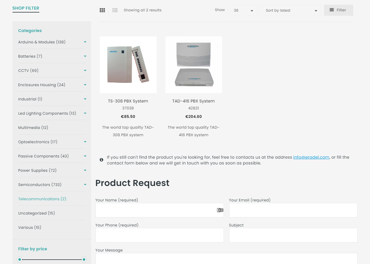 product requerst eradel - Κατασκευή eshop eradel.com - 3site